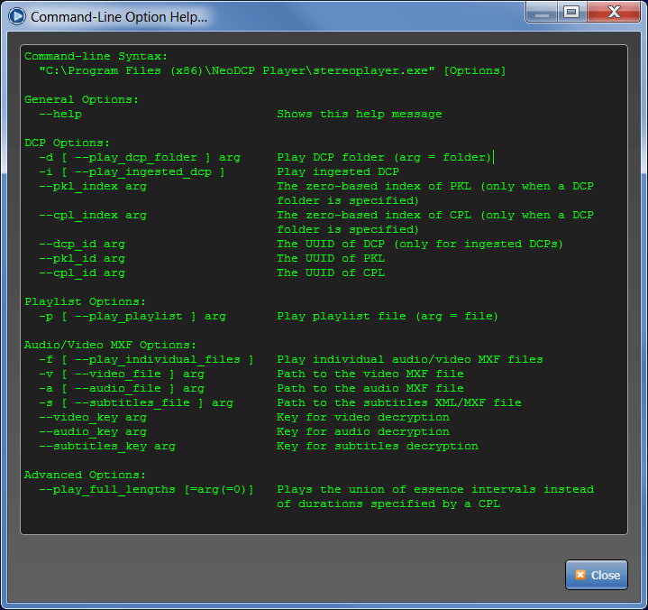 NeoDCP Player - command-line options
