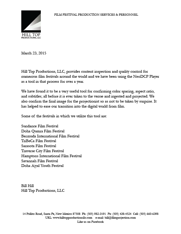 Official statement of our customer who have been using NeoDCP Player at many film festivals worldwide.